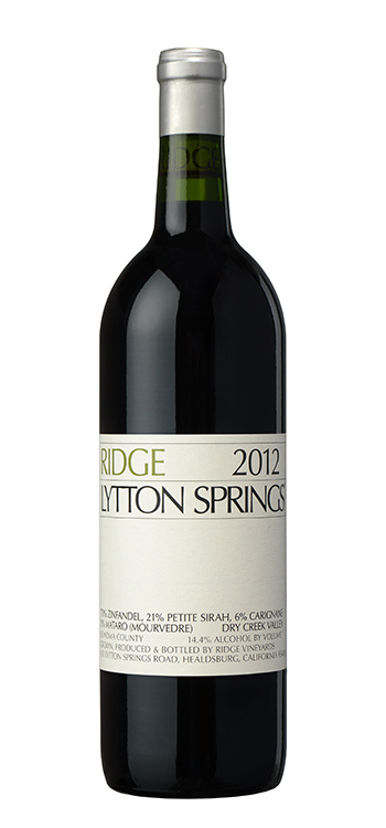 Ridge Proprietary Red Lytton Springs 2012,  (AG93+) from The BPW - Merchants of rare and fine wines.