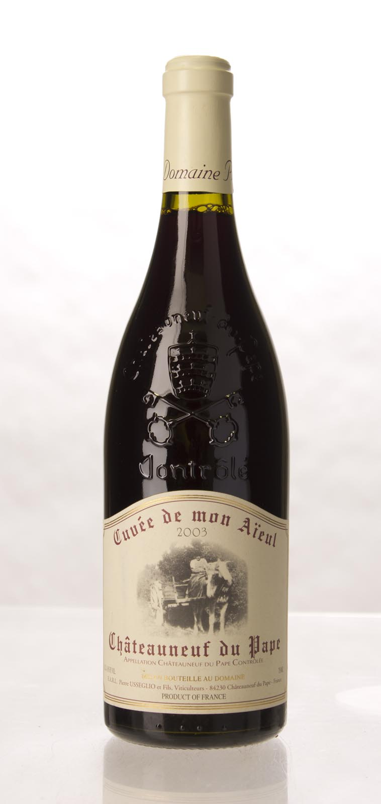 Pierre Usseglio Chateauneuf du Pape Cuvee de Mon Aieul 2003,  (WA98) from The BPW - Merchants of rare and fine wines.