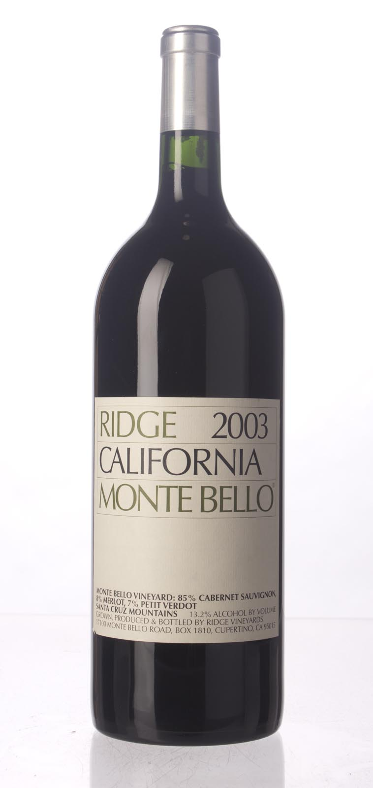 Ridge Monte Bello 2003, 1.5L (WA94+, ST92+) from The BPW - Merchants of rare and fine wines.