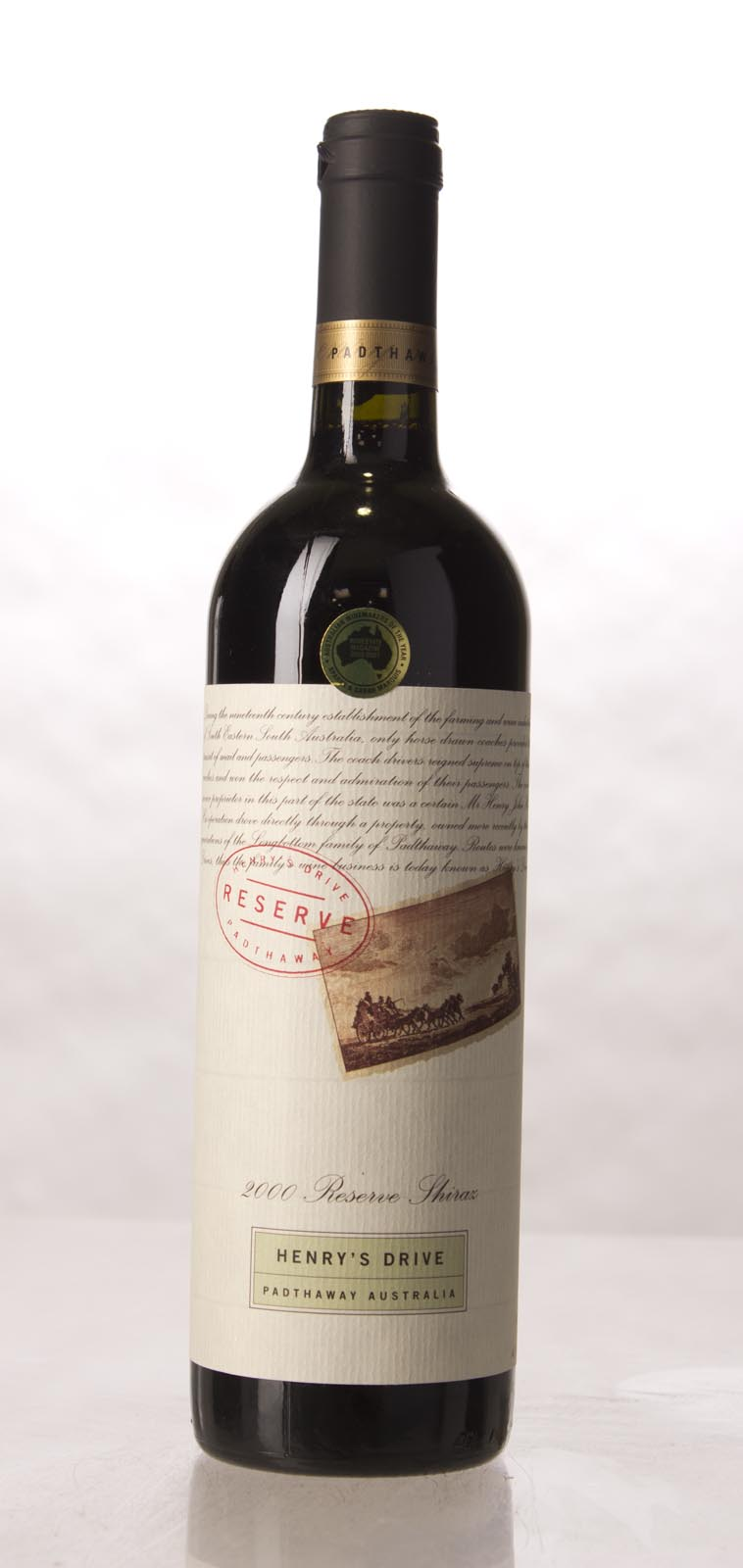 Henry`s Drive Shiraz Padthaway 2000, 750mL (WA92) from The BPW - Merchants of rare and fine wines.