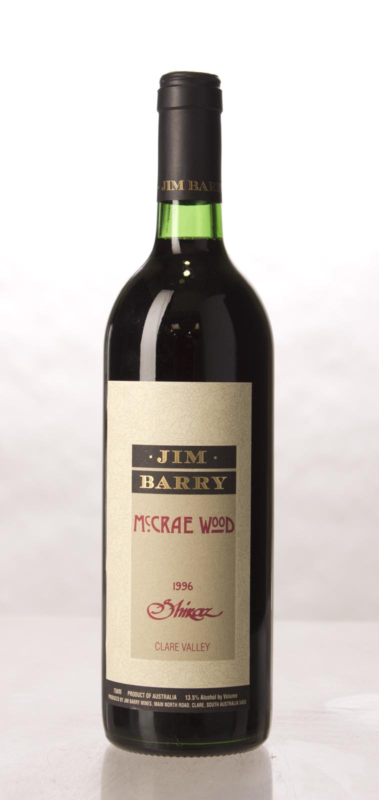 Jim Barry Shiraz The McRae Wood 1996, 750mL () from The BPW - Merchants of rare and fine wines.