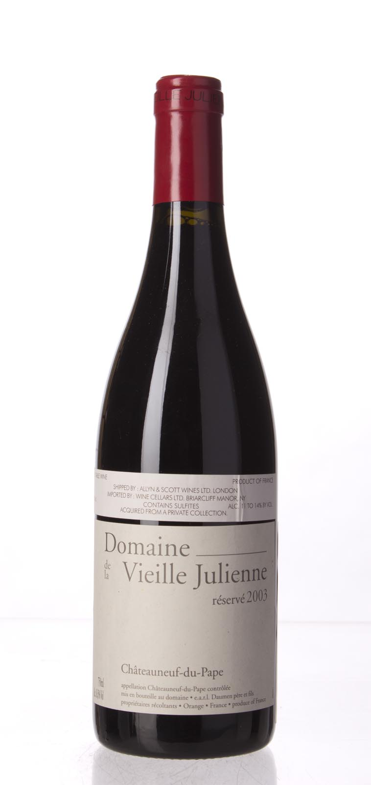 Domaine de la Vieille Julienne Chateauneuf du Pape Cuvee Reservee 2003,  (WA100) from The BPW - Merchants of rare and fine wines.