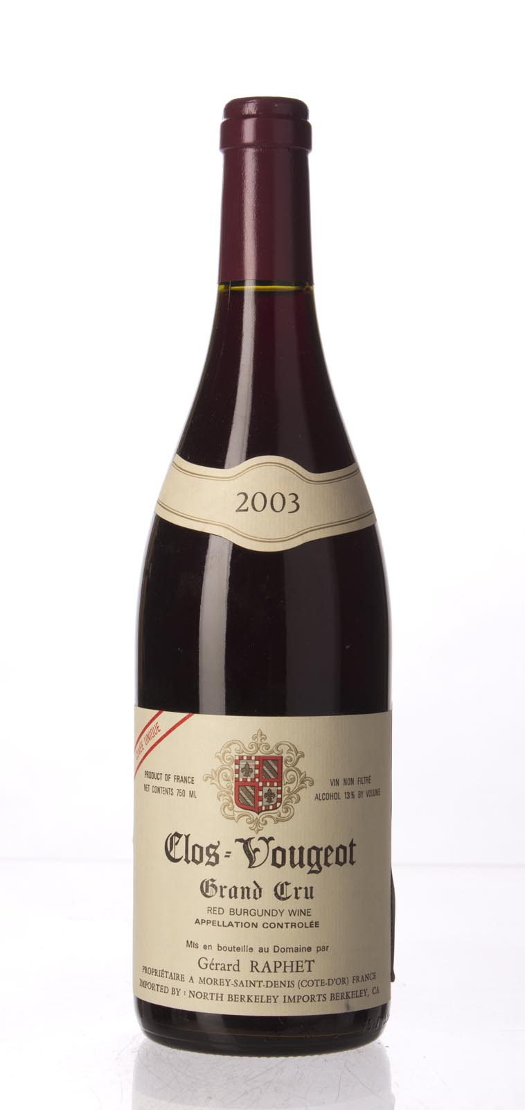 Domaine Raphet Clos Vougeot Cuvee Unique 2003, 750mL (WA93) from The BPW - Merchants of rare and fine wines.
