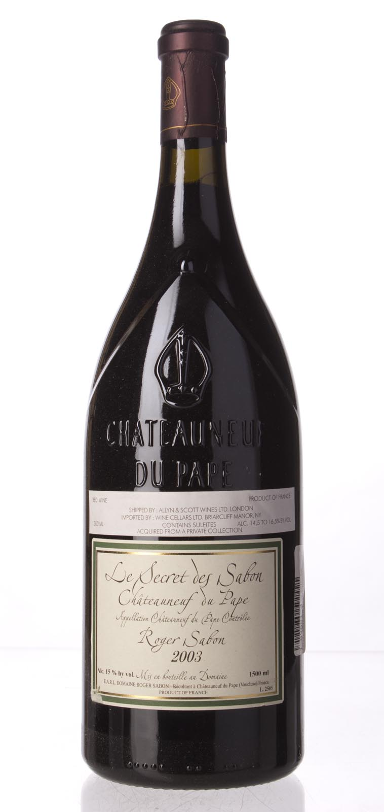 Domaine Roger Sabon Chateauneuf du Pape le Secret de Sabon 2003, 1.5L (WA96) from The BPW - Merchants of rare and fine wines.