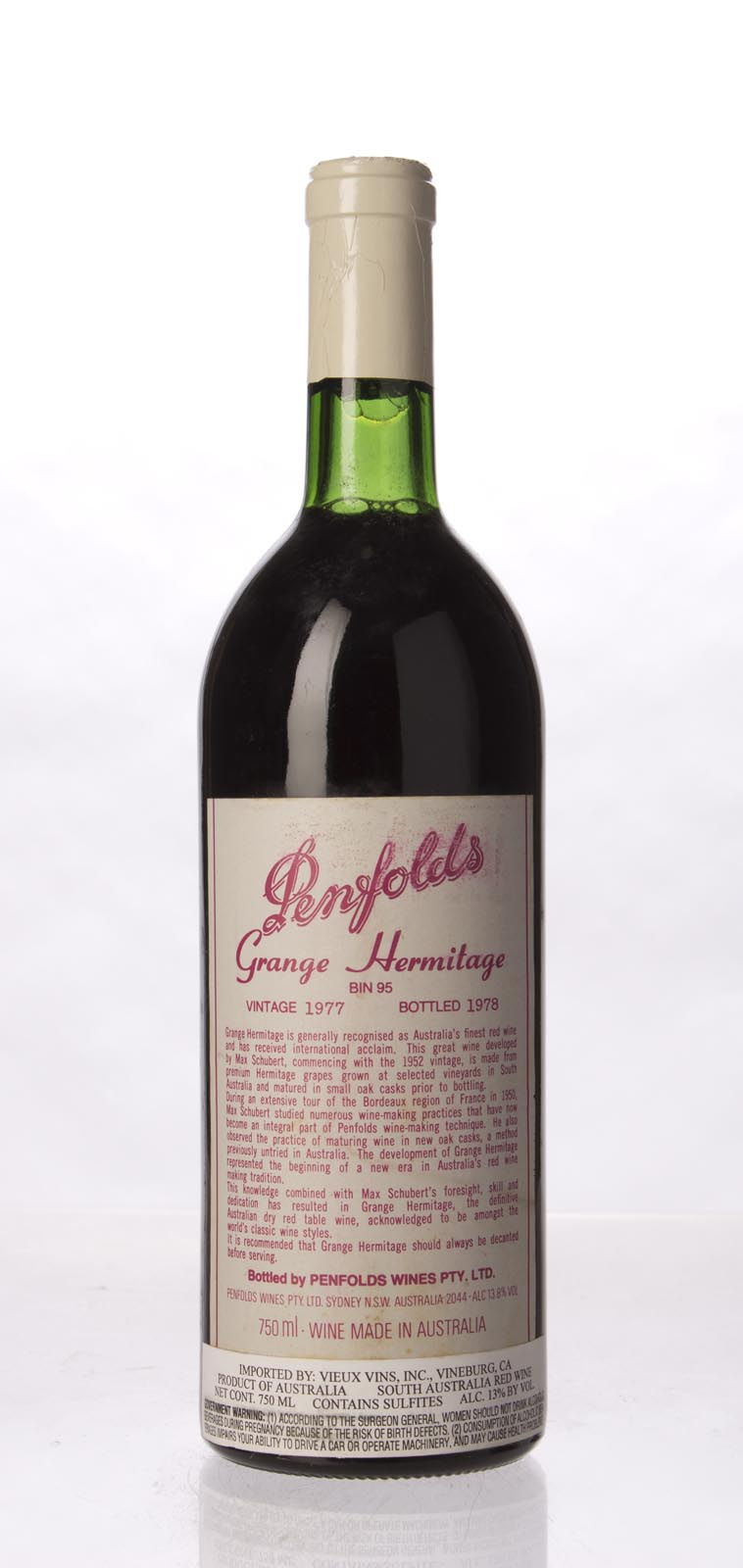 Penfolds Grange Shiraz 1977, 750mL (WA93) from The BPW - Merchants of rare and fine wines.