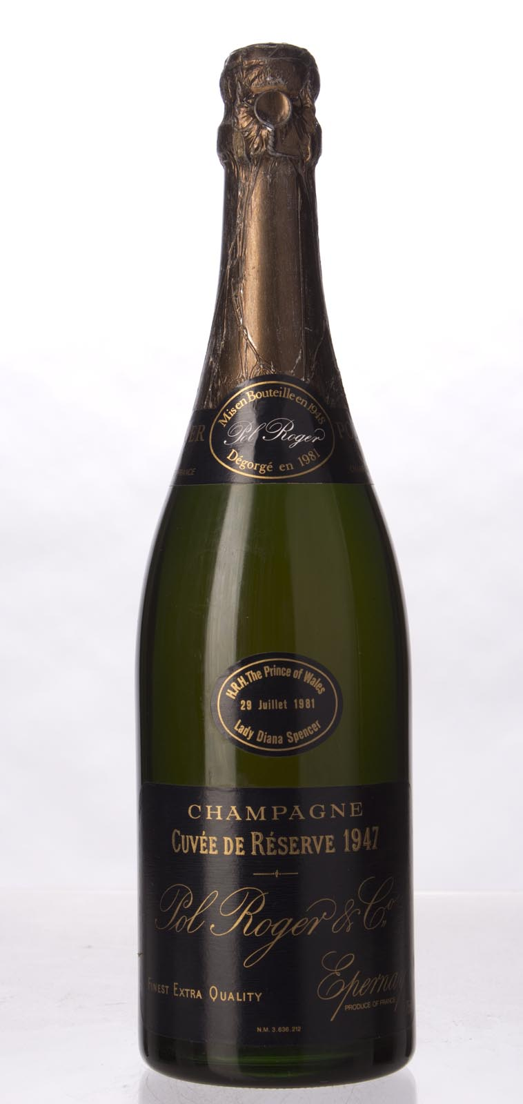 Pol Roger Extra Brut Cuvee de Reserve 1947, 750mL () from The BPW - Merchants of rare and fine wines.