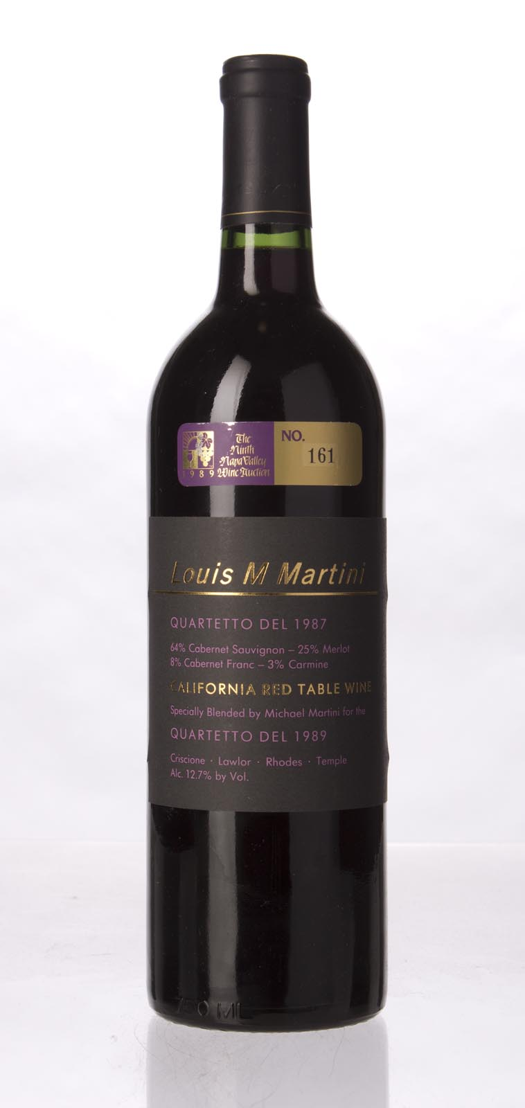 Louis Martini Proprietary Red Quartetto del 1987,  () from The BPW - Merchants of rare and fine wines.