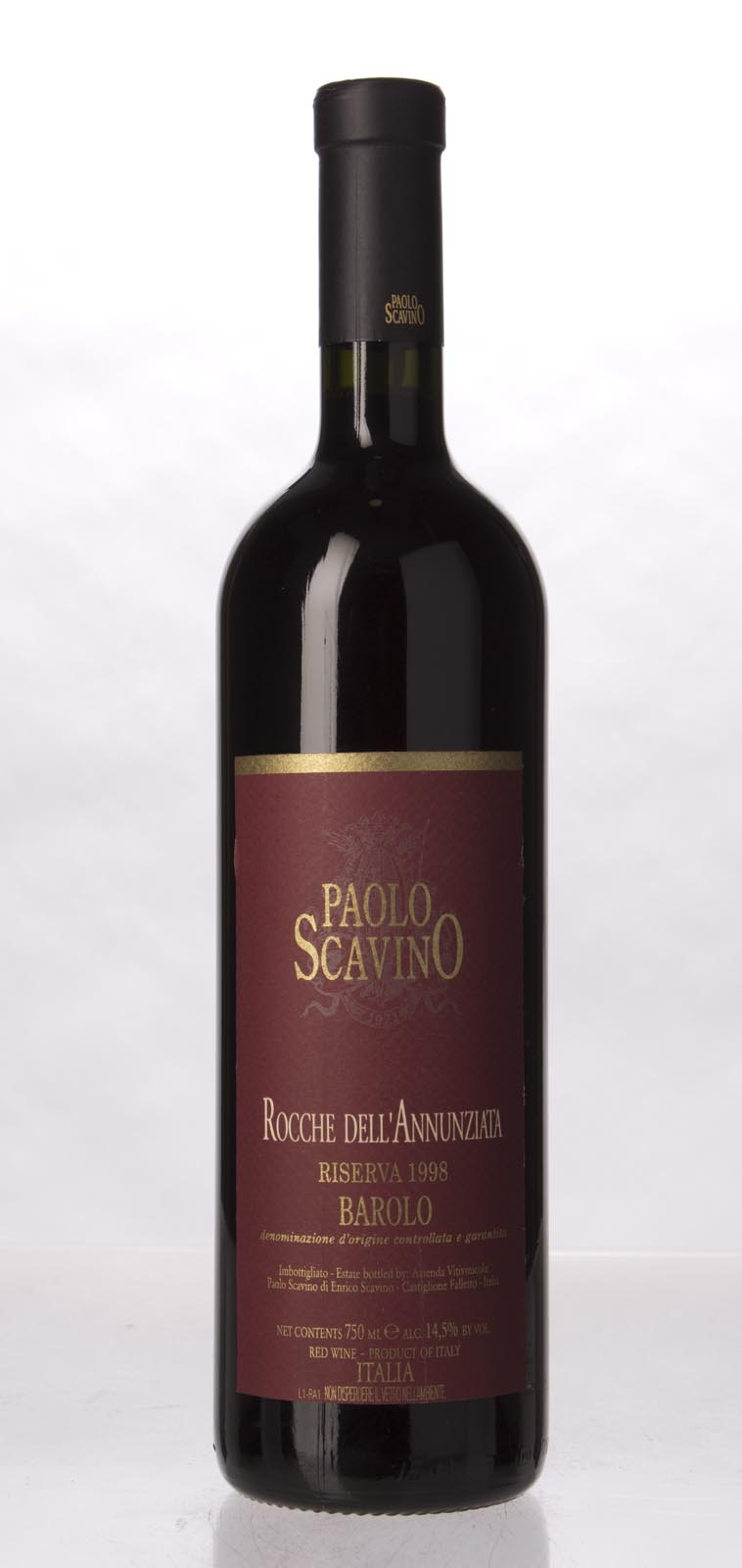 Paolo Scavino Barolo Rocche dell Annunziata Riserva 1998, 750mL (WA93, ST93-95, WS92) from The BPW - Merchants of rare and fine wines.