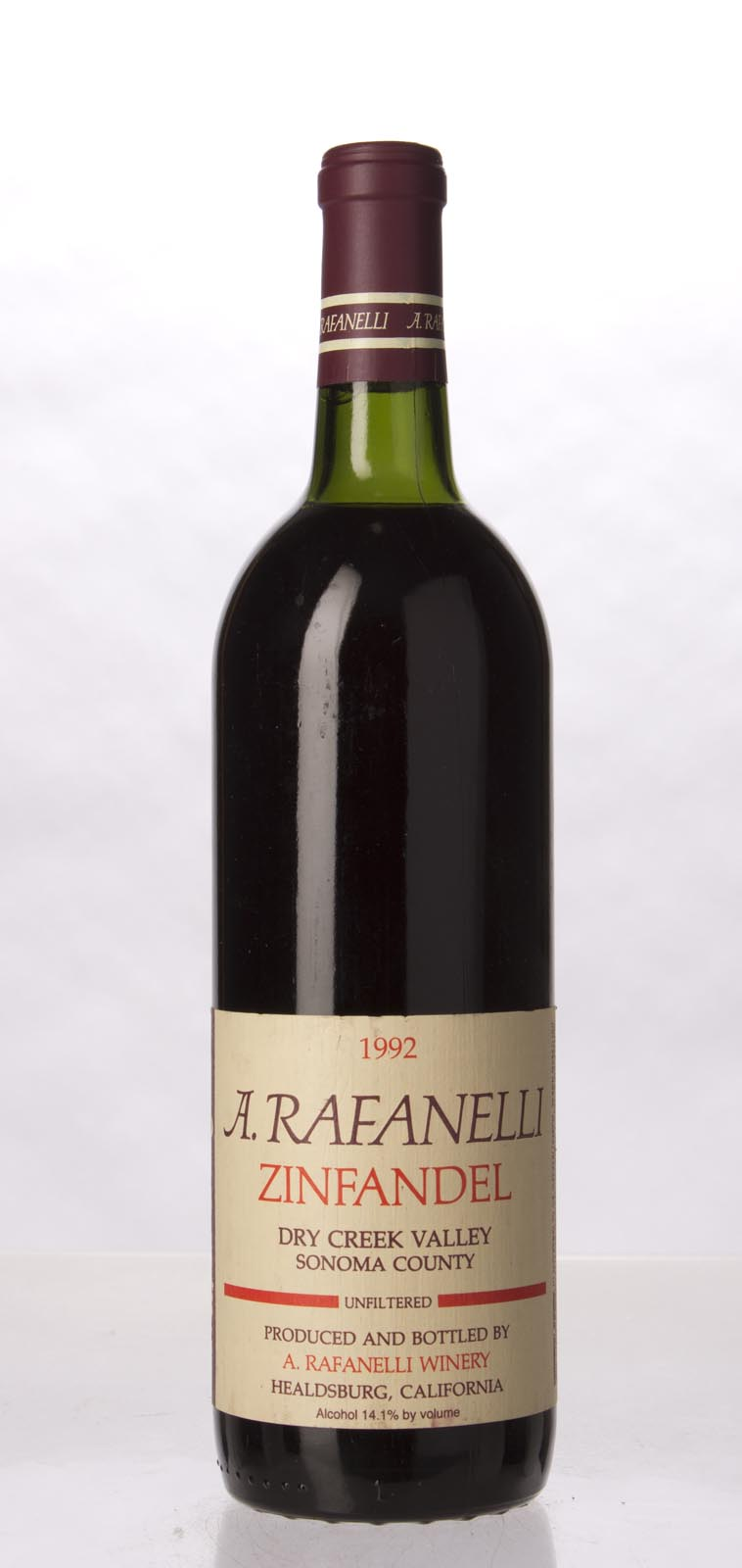 A. Rafanelli Zinfandel Unfiltered 1992, 750mL (WA89) from The BPW - Merchants of rare and fine wines.