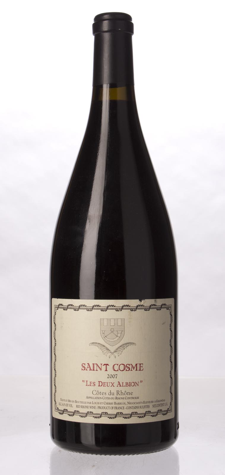Chateau de Saint Cosme Cotes du Rhone les Deux Albions 2007, 1.5L (WA90, WS90) from The BPW - Merchants of rare and fine wines.