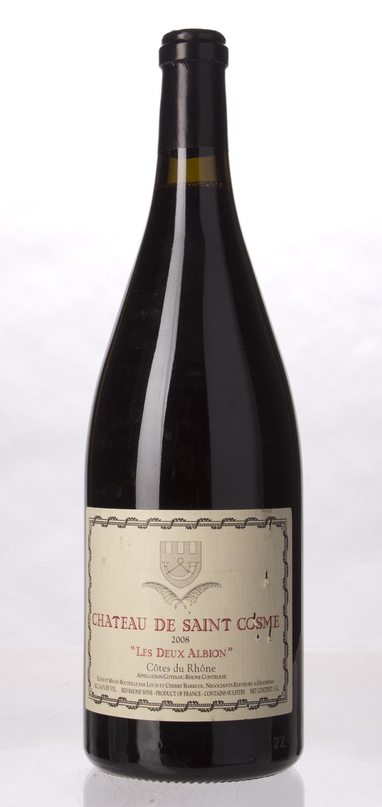 Chateau de Saint Cosme Cotes du Rhone les Deux Albions 2008, 1.5L (WA90) from The BPW - Merchants of rare and fine wines.