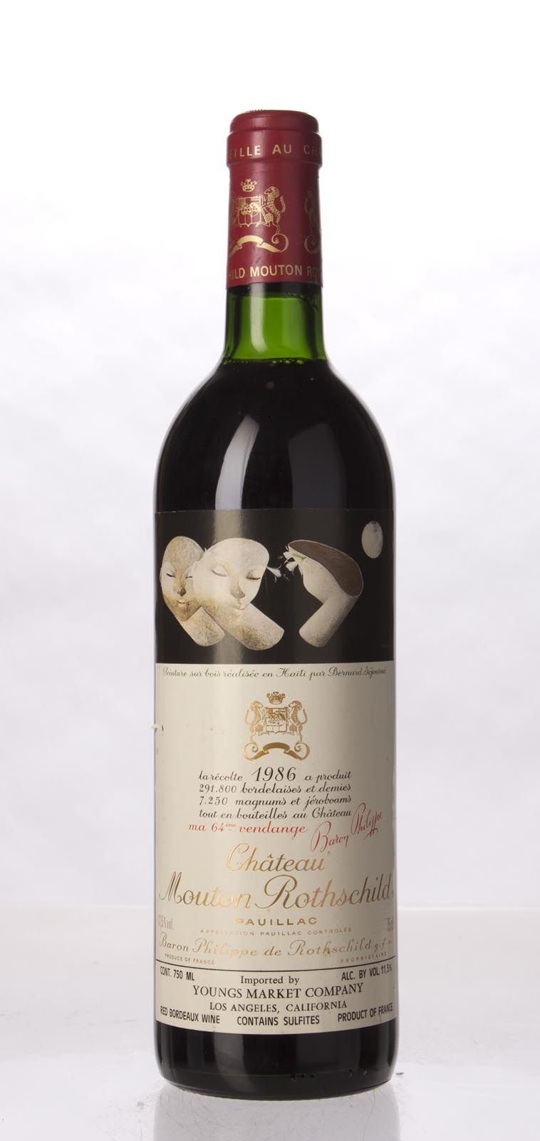 Mouton Rothschild 1986, 750mL (WA100, ST98+, WS99) from The BPW - Merchants of rare and fine wines.