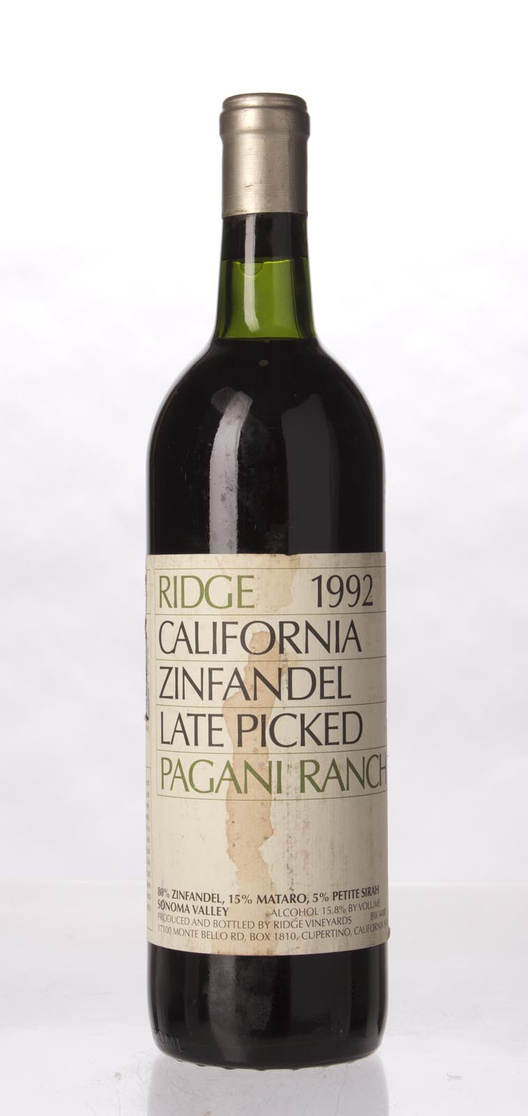 Ridge Zinfandel Pagani Ranch 1992, 750mL (WA93, WS93) from The BPW - Merchants of rare and fine wines.