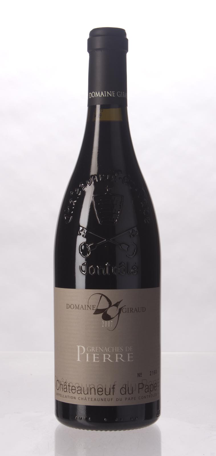 Domaine Giraud Chateauneuf du Pape Cuvee les Grenache de Pierre 2007,  (WA95+, ST94, WS96) from The BPW - Merchants of rare and fine wines.