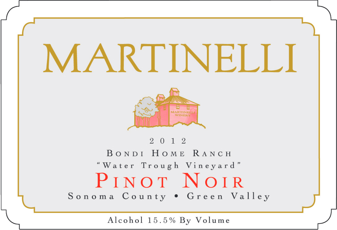 Martinelli Pinot Noir Bondi Home Ranch Water Trough Vineyard 2013,  (VN94) from The BPW - Merchants of rare and fine wines.