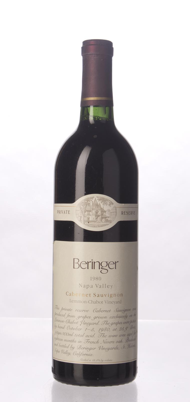 Beringer Cabernet Sauvignon Lemmon Chabot Vineyard Private Reserve 1980,  (WS93) from The BPW - Merchants of rare and fine wines.
