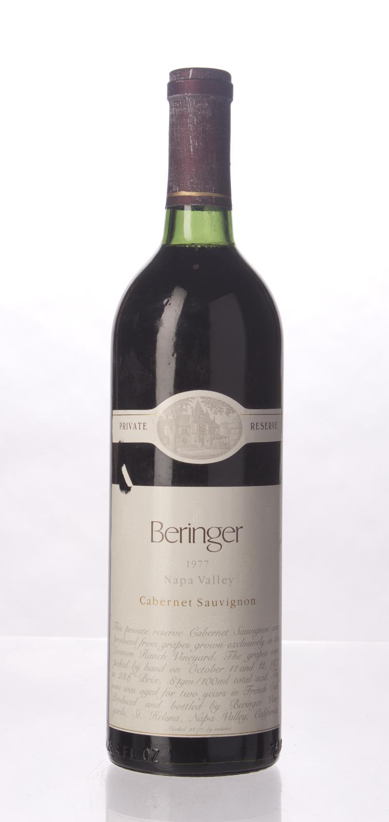 Beringer Cabernet Sauvignon Private Reserve 1977, 750mL () from The BPW - Merchants of rare and fine wines.