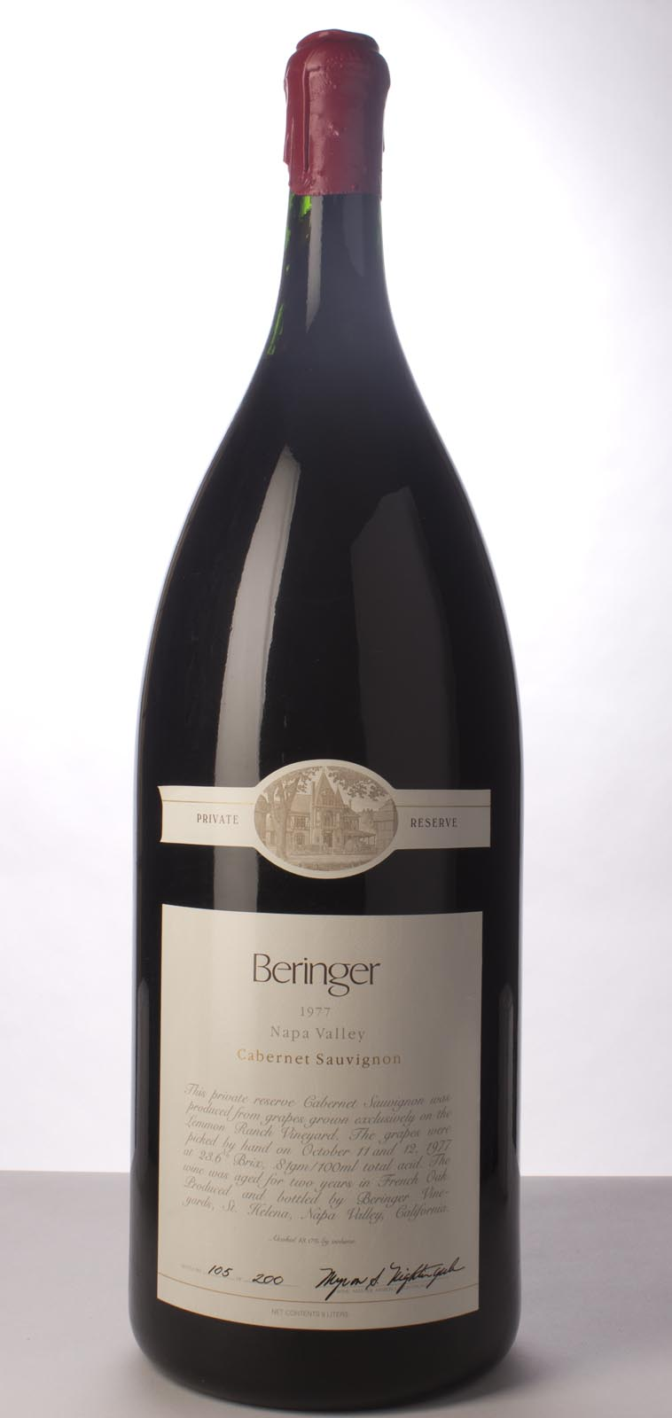 Beringer Cabernet Sauvignon Private Reserve 1977, 9L () from The BPW - Merchants of rare and fine wines.