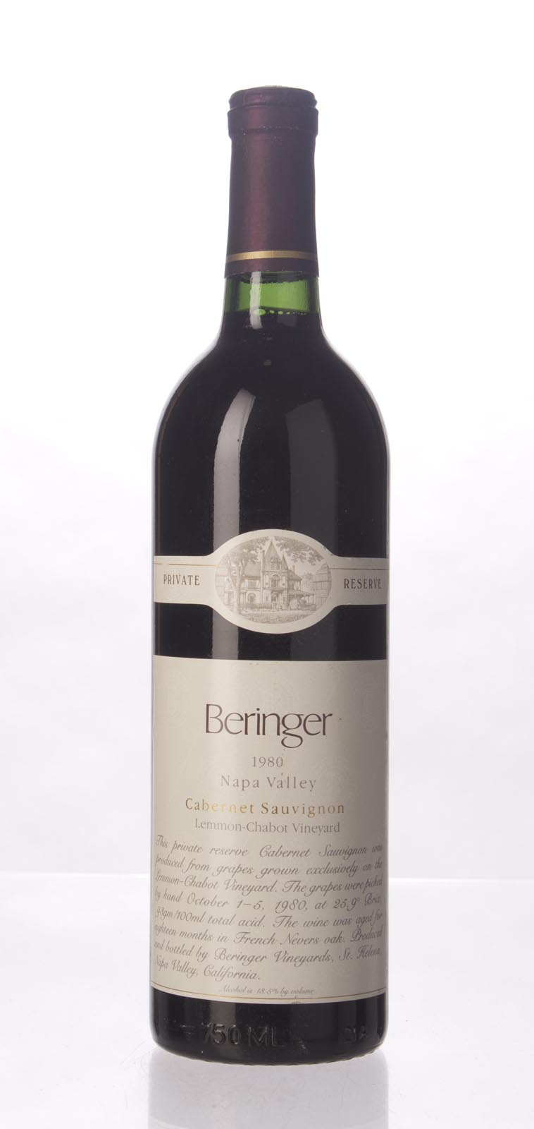 Beringer Cabernet Sauvignon Private Reserve 1980, 750mL () from The BPW - Merchants of rare and fine wines.