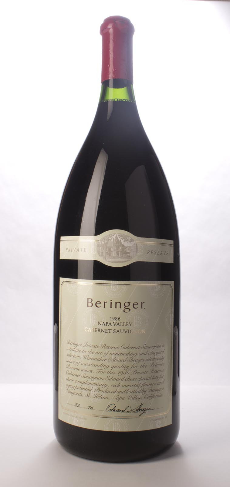 Beringer Cabernet Sauvignon Private Reserve 1986, 6L (WS95) from The BPW - Merchants of rare and fine wines.