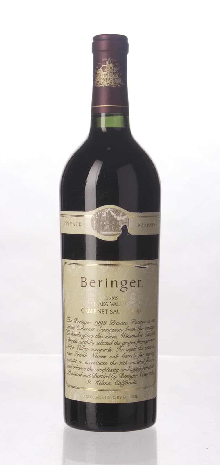 Beringer Cabernet Sauvignon Private Reserve 1993, 750mL (WA93, WS93) from The BPW - Merchants of rare and fine wines.