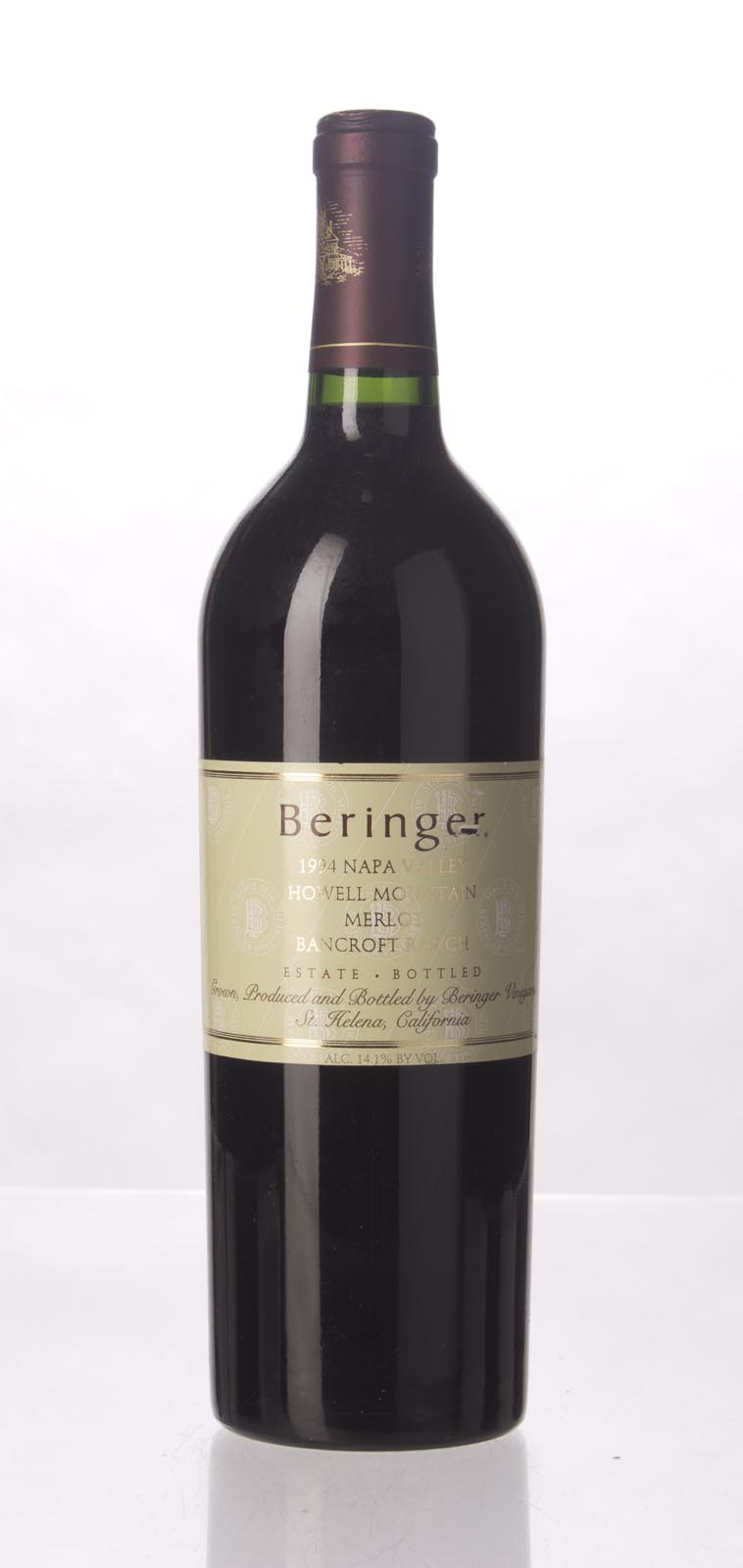 Beringer Merlot Bancroft Ranch 1994, 750mL (WA92) from The BPW - Merchants of rare and fine wines.