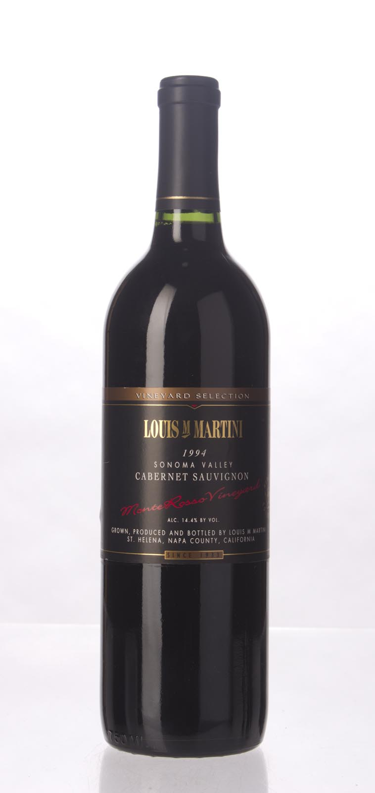 Louis Martini Cabernet Sauvignon Monte Rosso 1994, 750mL () from The BPW - Merchants of rare and fine wines.