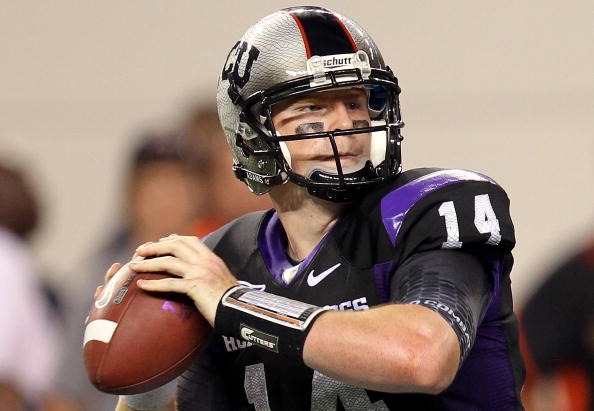 ARLINGTON, TX - SEPTEMBER 04:  Quarterback Andy Dalton #14 of the TCU Horned Frogs at Cowboys Stadium on September 4, 2010 in Arlington, Texas.  (Photo by Ronald Martinez/Getty Images)