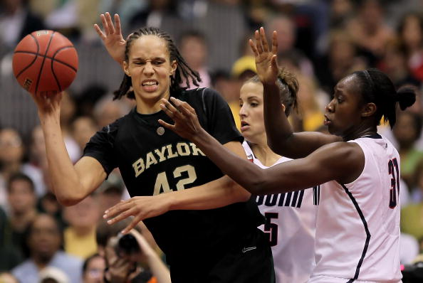 SAN ANTONIO - APRIL 04:  (L-R) Brittney Griner #42 of the Baylor Bears is pressured by Caroline Doty #5 and Tina Charles #31 of the Connecticut Huskies in the second half during the Women's Final Four Semifinals at the Alamodome on April 4, 2010 in San Antonio, Texas. Connecticut defeated Baylor 70-50. (Photo by Jeff Gross/Getty Images)