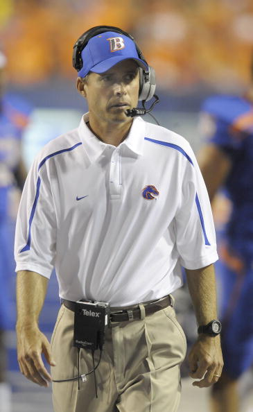 BOISE, ID - SEPTEMBER 3:  Head coach Chris Petersen of the Boise State Broncos paces the sidelines in the third quarter of the game against the Oregon Ducks on September 3, 2009 at Bronco Stadium in Boise, Idaho. Boise State won the game 19-8. (Photo by Steve Dykes/Getty Images)