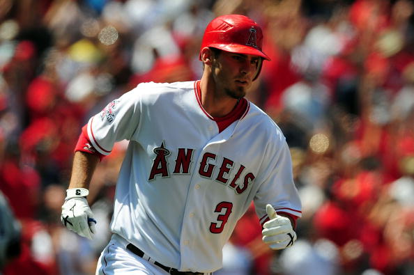 ANAHEIM, CA - APRIL 25: Brandon Wood #3 of the Los Angeles Angels of Anaheim in the seventh inning against the New York Yankees on April 25, 2010 in Anaheim, California.  (Photo by Jacob de Golish/Getty Images)