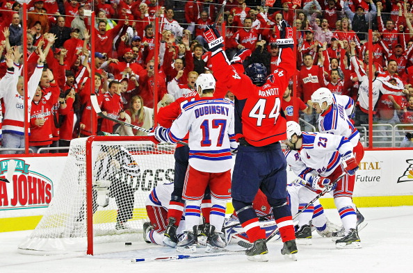 WASHINGTON, DC - APRIL 23:  Jason Arnott #44 of the Washington Capitals celebrates the Caps first goal of the game against the New York Rangers in Game Five of the Eastern Conference Quarterfinals during the 2011 NHL Stanley Cup Playoffs at the Verizon Center on April 23, 2011 in Washington, DC.  (Photo by Len Redkoles/Getty Images)