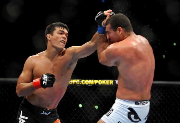 LOS ANGELES, CA - OCTOBER 24:  UFC Light Heavyweight Champion Lyoto Machida (R) battles with UFC Light Heavyweight challenger Mauricio Rua (L) during their title fight at UFC 104 at Staples Center on October 24, 2009 in Los Angeles, California. (Photo by Jon Kopaloff/Getty Images)