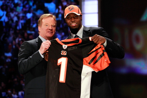 NEW YORK, NY - APRIL 28:  NFL Commissioner ROger Goodell poses for a photo with A.J. Green, #4 overall pick by the Cincinnati Bengals, as Green holds up a jersey during the 2011 NFL Draft at Radio City Music Hall on April 28, 2011 in New York City.  (Photo by Chris Trotman/Getty Images)