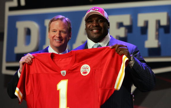 NEW YORK - APRIL 26:  Glenn Dorsey poses for a photo after being selected as the fifth overall pick by the Kansas City Chiefs with National Football League Commissioner Roger Goodell during the 2008 NFL Draft on April 26, 2008 at Radio City Music Hall in New York, New York.  (Photo by Jim McIsaac/Getty Images)