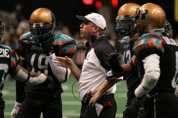 PHOENIX - JUNE 30:  Head coach Kevin Guy of the Arizona Rattlers talks during a game against the Grand Rapids Rampage at the US Airways Center in Phoenix, Arizona on June 30, 2008.  (Photo by Gene Lower/Getty Images)