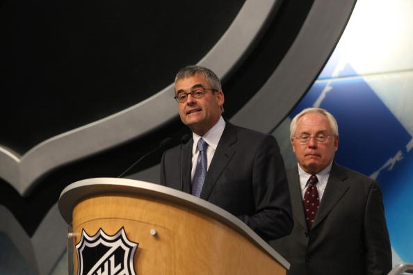 MONTREAL - JUNE 26:  Montreal Canadiens President Pierre Boivin stands at the podium during the first round of the 2009 NHL Entry Draft at the Bell Centre on June 26, 2009 in Montreal, Quebec, Canada. (Photo by Bruce Bennett/Getty Images)