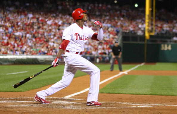 PHILADELPHIA - SEPTEMBER 25: Right fielder Domonic Brown #9 of the Philadelphia Phillies bats during a game against the New York Mets at Citizens Bank Park on September 25, 2010 in Philadelphia, Pennsylvania. The Mets won 5-2. (Photo by Hunter Martin/Getty Images)