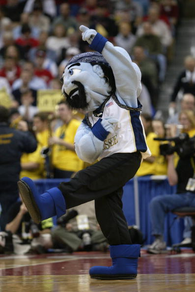 COLUMBUS, OH - MARCH 19:  The East Tennessee State University Buccaneers mascot Bucky performs during the first round game of the NCAA Division I Men's Basketball Tournament against the University of Cincinnati Bearcats at Nationwide Arena on March 19, 2004 in Columbus, Ohio.  The Bearcats won 80-77.  (Photo by Doug Pensinger/Getty Images)