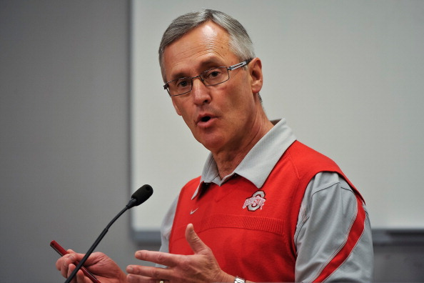 COLUMBUS, OH - MARCH 30:  Head Coach Jim Tressel speaks to the media during a press conference before the start of Spring practices at the Woody Hayes Athletic Center at The Ohio State University on March 30, 2011 in Columbus, Ohio. (Photo by Jamie Sabau/Getty Images)