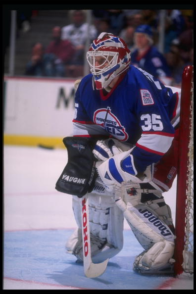 27 Jan 1995:  Goaltender Nikolai Khabibulin of the Winnipeg Jets looks on during a game against the Anaheim Mighty Ducks at Arrowhead Pond in Anaheim, California.  The Ducks won the game, 3-2. Mandatory Credit: Al Bello  /Allsport