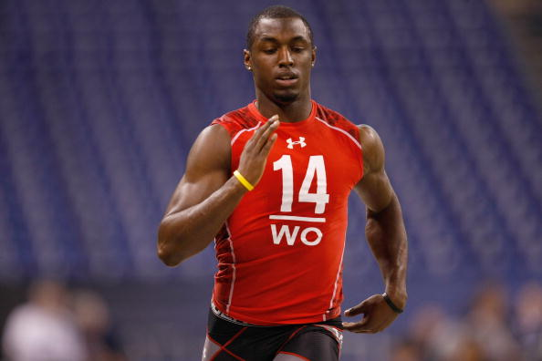 INDIANAPOLIS, IN - FEBRUARY 28: Wide receiver Marcus Easley of Connecticut runs the 40 yard dash during the NFL Scouting Combine presented by Under Armour at Lucas Oil Stadium on February 28, 2010 in Indianapolis, Indiana. (Photo by Scott Boehm/Getty Images)