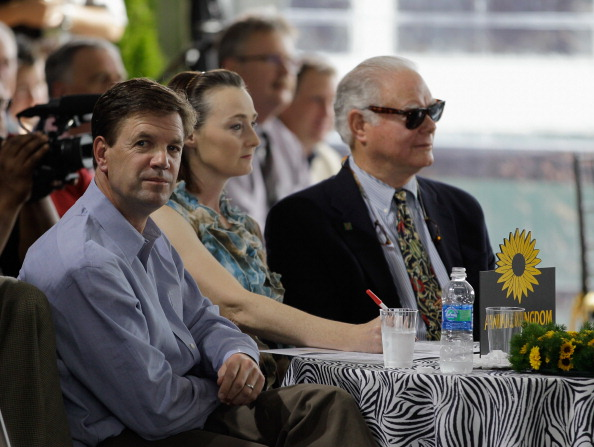 BALTIMORE, MD - MAY 18: Graham Motion trainer of Preaknes entrant Animal Kingdom (L) and owner Barry Irwin (R) attend the post postion draw for the 136th running of the Preakness Stakes at  Pimlico Race Course on May 18, 2011 in Baltimore, Maryland. The race will be run on Saturday. (Photo by Rob Carr/Getty Images)