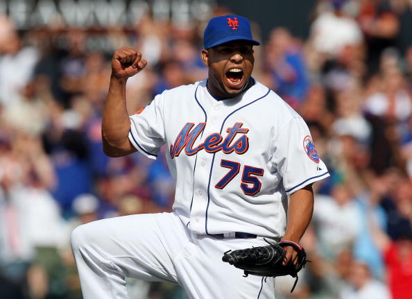 NEW YORK - APRIL 18:  Francisco Rodriguez #75 of the New York Mets celebrates after the final out against the Milwaukee Brewers on April 18, 2009 at Citi Field in the Flushing neighborhood of the Queens borough of New York City. The Mets defeated the Brewers 1-0.  (Photo by Jim McIsaac/Getty Images)