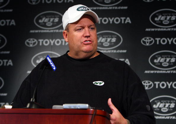 FLORHAM PARK, NJ - MAY 02:  Head coach Rex Ryan of the New York Jets speaks to the media during minicamp on May 2, 2009 at the Atlantic Health Jets Training Center in Florham Park, New Jersey.  (Photo by Jim McIsaac/Getty Images)