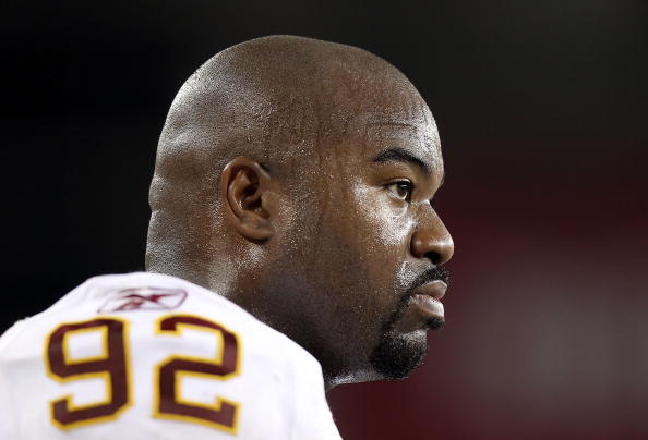 GLENDALE, AZ - SEPTEMBER 02:  Defensive tackle Albert Haynesworth #92 of the Washington Redskins stands on the sidelines during preseason NFL game against the Arizona Cardinals at the University of Phoenix Stadium on September 2, 2010 in Glendale, Arizona.  The Cardinals defeated the Redskins 20-10.  (Photo by Christian Petersen/Getty Images)
