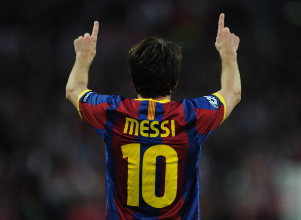 LONDON, ENGLAND - MAY 28:  Lionel Messi of FC Barcelona celebrates scoring their second goal during the UEFA Champions League final between FC Barcelona and Manchester United FC at Wembley Stadium on May 28, 2011 in London, England.  (Photo by Jasper Juinen/Getty Images)