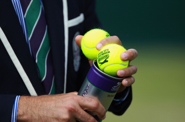 LONDON, ENGLAND - JUNE 25: A general view of tennis balls on Day Six of the Wimbledon Lawn Tennis Championships at the All England Lawn Tennis and Croquet Club on June 25, 2011 in London, England.  (Photo by Julian Finney/Getty Images)