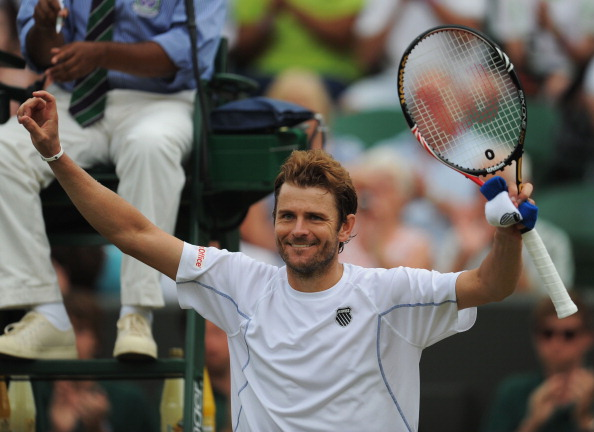 LONDON, ENGLAND - JUNE 27:  Mardy Fish of the United States celebrates after winning his fourth round match against  Tomas Berdych of the Czech Republic on Day Seven of the Wimbledon Lawn Tennis Championships at the All England Lawn Tennis and Croquet Club on June 27, 2011 in London, England.  (Photo by Michael Regan/Getty Images)