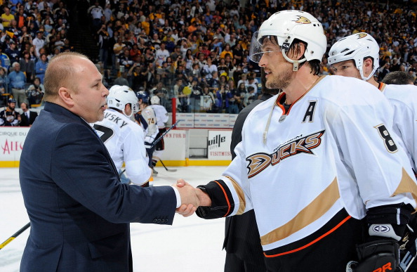 NASHVILLE, TN - APRIL 24:  Teemu Selane #8 of the Anaheim Ducks shakes hands with Barry Trotz, head coach of the Nashville Predators after Game Six of the Western Conference Quarterfinals during the 2011 NHL Stanley Cup Playoffs at Bridgestone Arena on April 24, 2011 in Nashville, Tennessee.  (Photo by Frederick Breedon/Getty Images)
